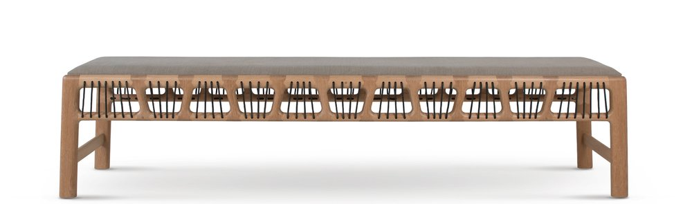 Joburg Bench 102 design ontwerp David Krynauw solid wood Nando's hout bankie weave oak