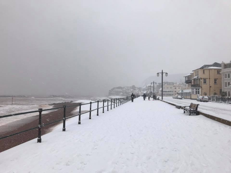 Snowy Sidmouth Seafront Captured by Kate Cooke on Thursday afternoon