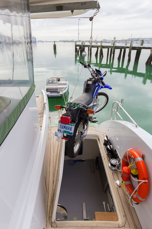 Two motorbikes and two push bikes in the aft deck lockers can be lifted onto the tender via a discretely mounted crane