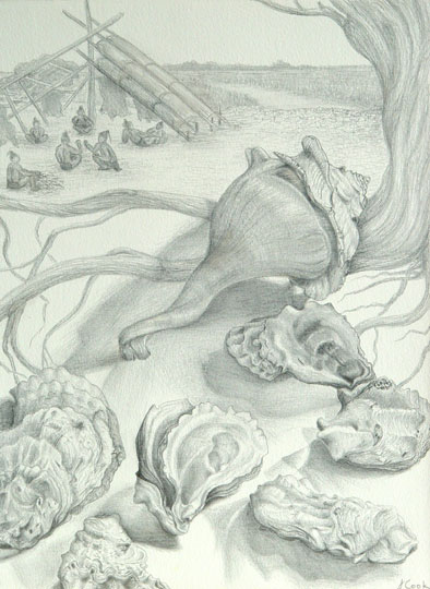 At the the Shell Mound, silverpoint, Jeannine Cook artist