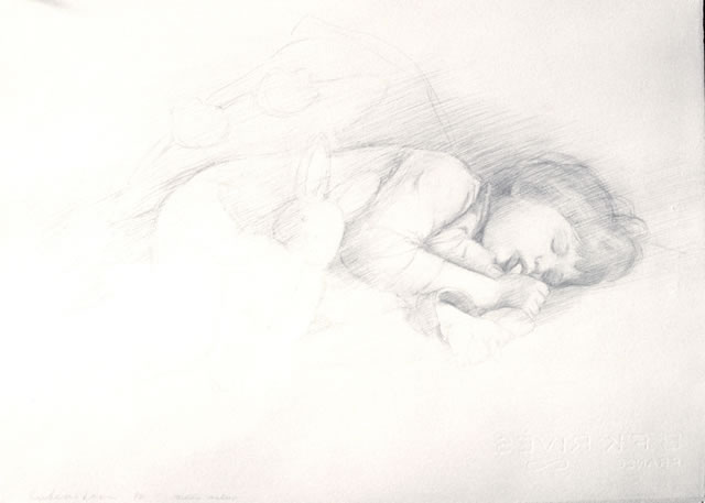 Ephraim Rubenstein - Maddie Asleep, 1990, silverpoint on prepared paper, 21 in x 16