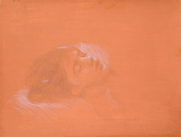 Juliette Aristides - Natalia Sleeping, 2005, silverpoint on toned paper heightened with white, 9 in x 13