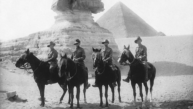Wilfred and Gresley Harper and fellow 10th Light Horse soldiers in Egypt, 18th April 1915