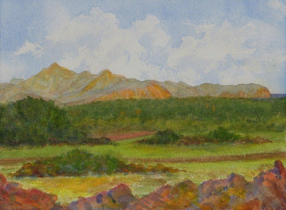 Mallorcan landscape, watercolour, Jeannine Cook