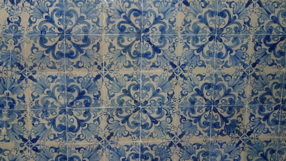Tiles down the staircase at Forum Eugenio de Almeida, originally the seat of the Court of the Inquisition, (1655-1821), Evora