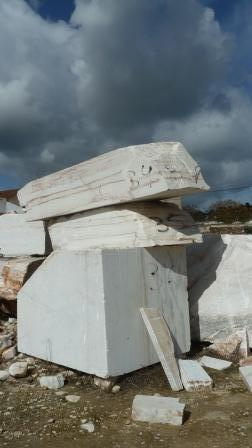 Mined marble waiting for use, photograph Jeannine Cook