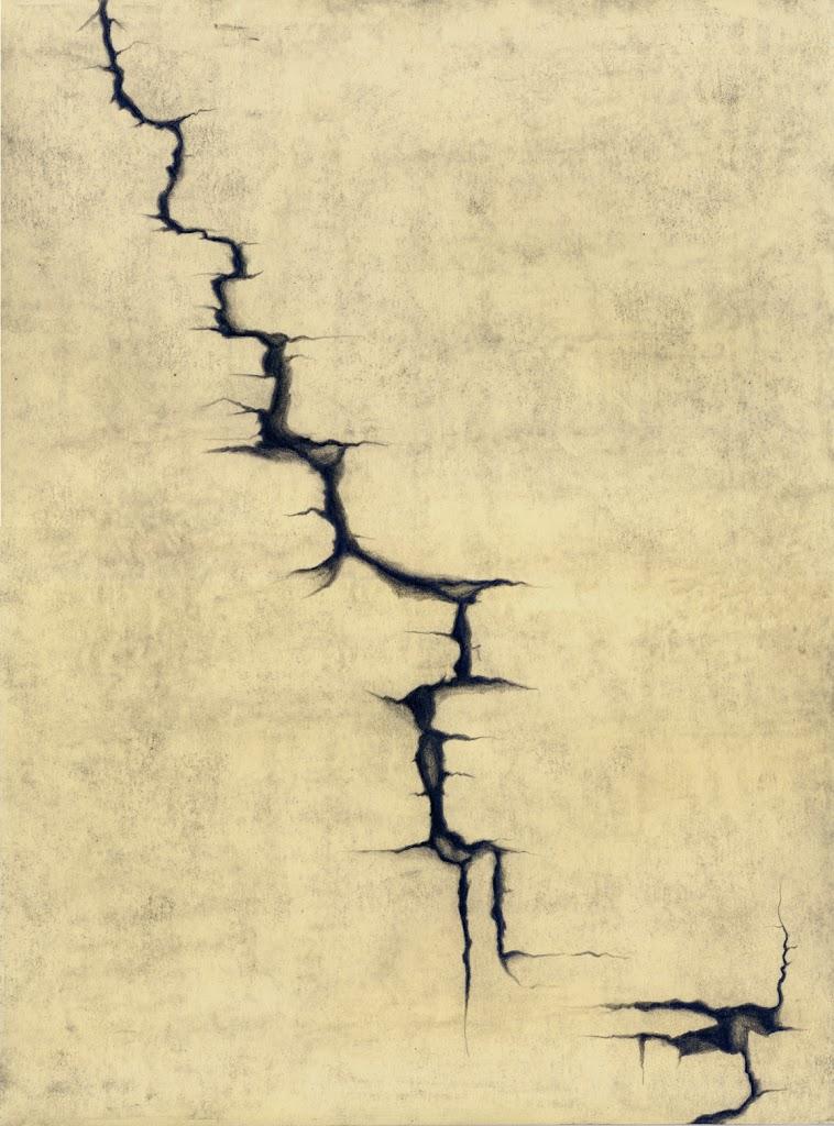 """Fractured, Caylus , graphite, 15 x 11"""", artist Jeannine Cook"""