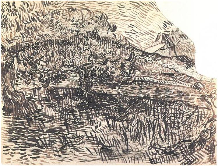 Vincent van Gogh,  Olive Trees in a Mountain Landscape , black chalk, brush, brown ink, Saint-Rémy: June 17 or 18, 1889, Van Gogh Museum, Amsterdam
