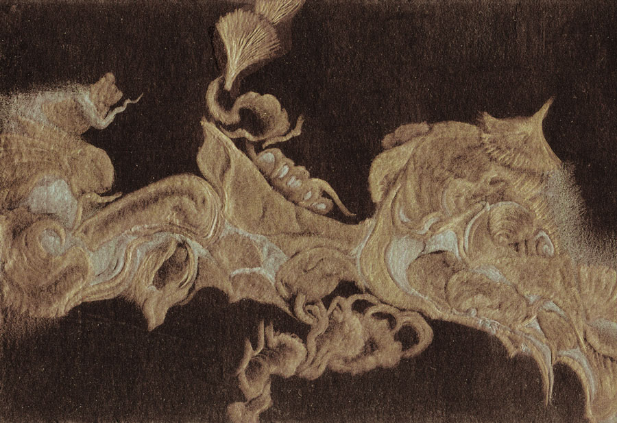 gold silverpoint on black
