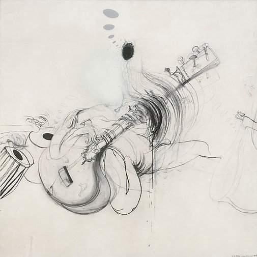 Shankar, 1966, charcoal, ink, spray paint, enamel, collage on paper.  Brett Whiteley (Image courtesy of Art Gallery, New South Wales)