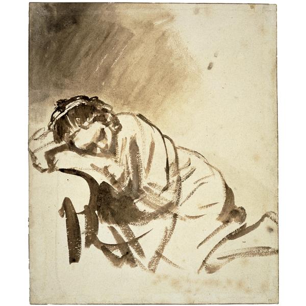 Jeune Femme Endormie, c. 1654, encre, (image du British Museum)