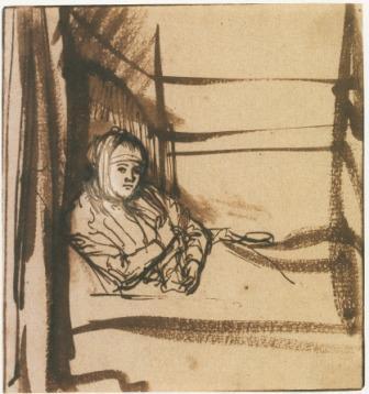 Saskia au Lit, encre, 1634, (image du Kupferstichkabinett, Dresden)