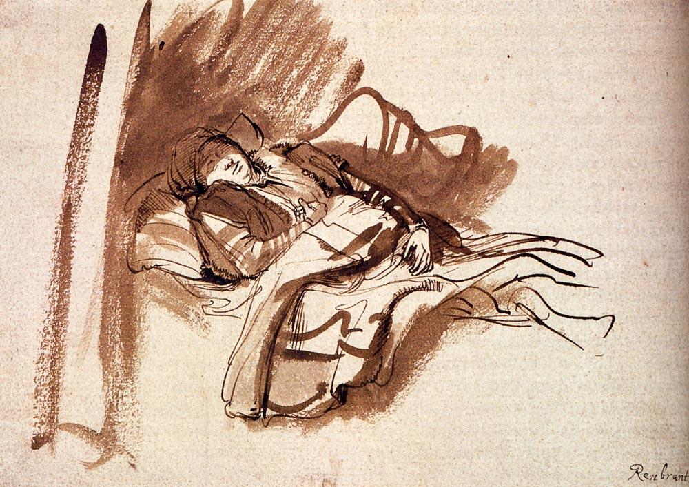 Saskia endormie, encre, 1638 (Image du Musée Ashmolean, Oxford)