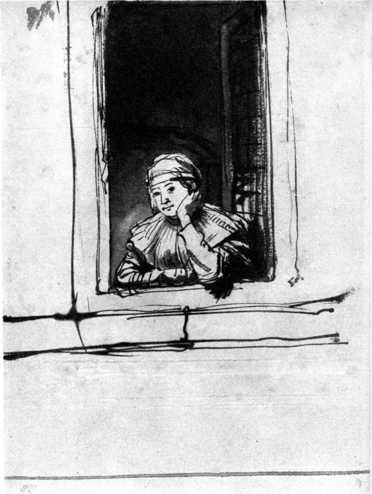 Saskia regardant par la Fénêtre, 1635, encre, (image du Musée Boynans van Beuningen, Rotterdam)