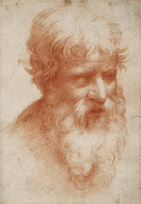 Head of Bearded Man, 1523-25, red chalk,, Francesco Mazzola Parmigianino, (Image courtesy of Städl Museum, Frankfurt)
