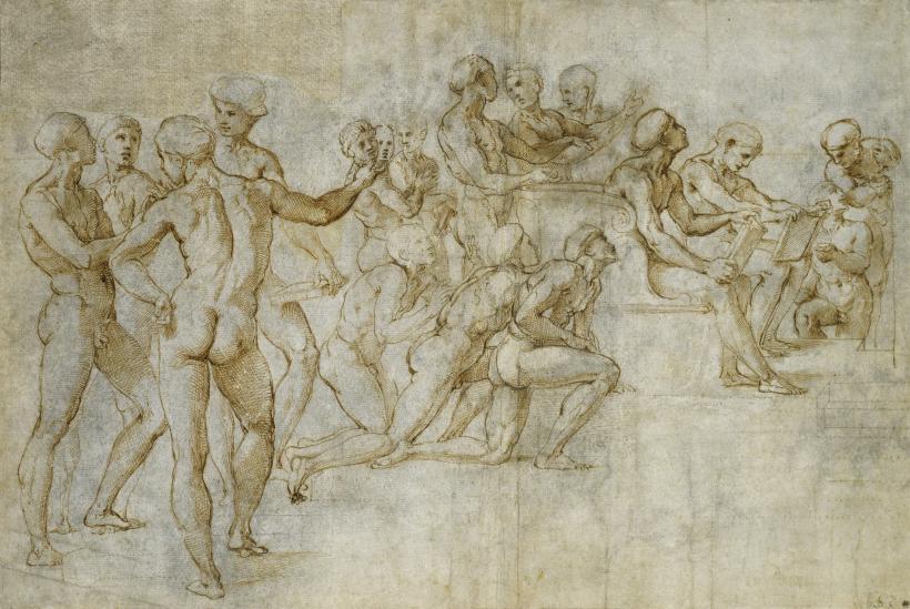 Design for disputa, c. 1508-09, pen & ink , black chalk, Raphael  (image courtesy of Stadl Museum, Frankfurt)