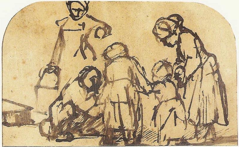 Ensignant un e Enfant à m Marcher, encre, c. 1660-62 (image du British Museum)