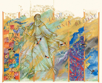Elisha  and the Six Miracles, St. John's Bible, Donald Jackson in collaboration with Aidan Hart