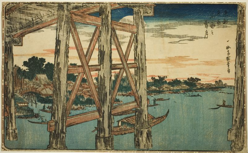 Twilight Moon at Ryogoku Bridge from series Famous Views of the Eastern Capital, Utagawa Hiroshige