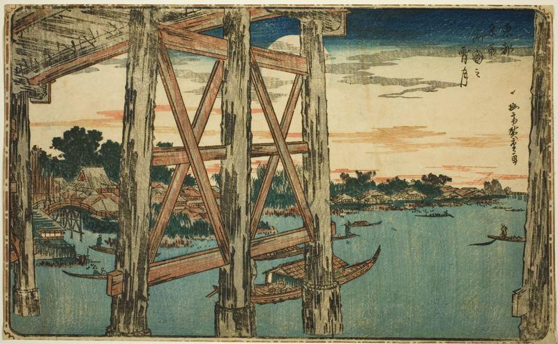 Twilight Moon at Ryogoku Bridge from series Famous Views of the Eastern Capital,  Utagawa Hiroshige