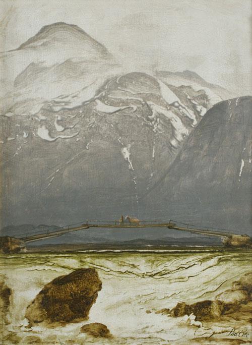 The Old Bridge, Oil on panel, Peder Balke