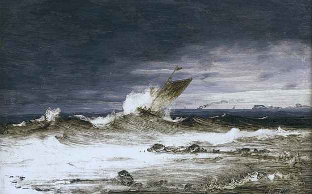 Seascape c. 1860, oil on canvas mounted on panel, Peder Balke