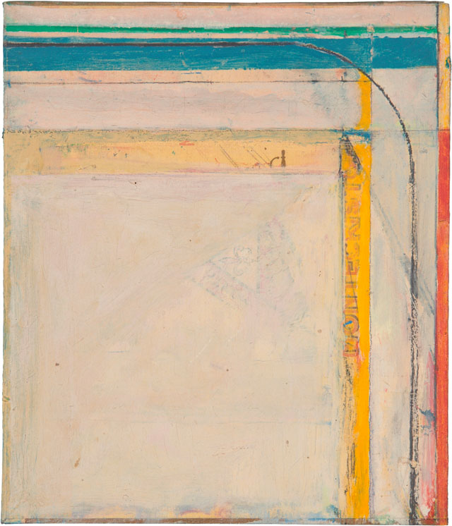 """Richard Diebenkorn, Cigar Box Lid #4, 1976. Oil on wood, 8-3⁄8 x 7-1⁄8"""". The Grant Family Collection. © The Estate of Richard Diebenkorn."""