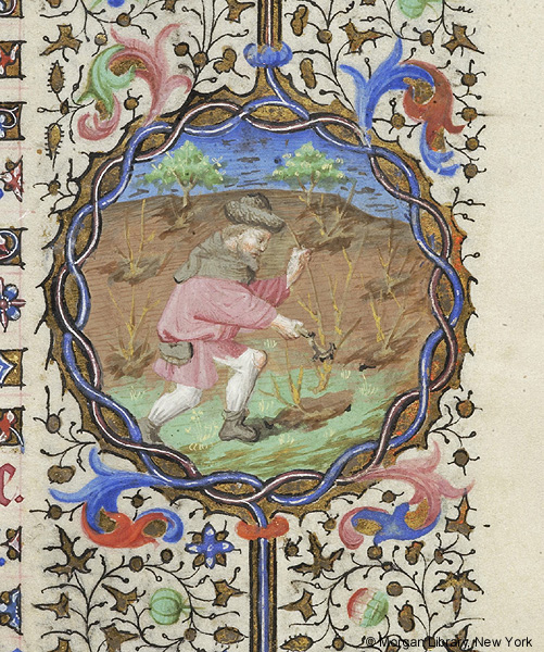 Detail of Book of Hours, March. Paris 1430-35 (Image courtesy of the Morgan Library)