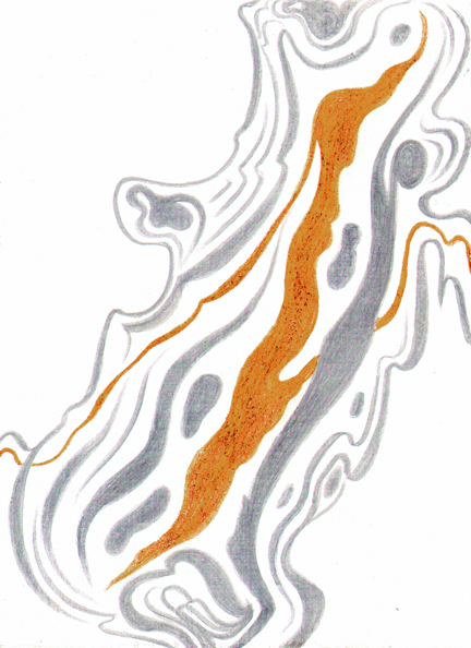 Rhythms of Oak, silverpoint-Prismacolor, artist Jeannine Cook