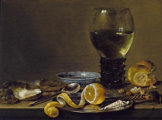 Willem Heda, Still Life with a Roemer, Bread and a Lemon,  c. 1640-43. Colección particular