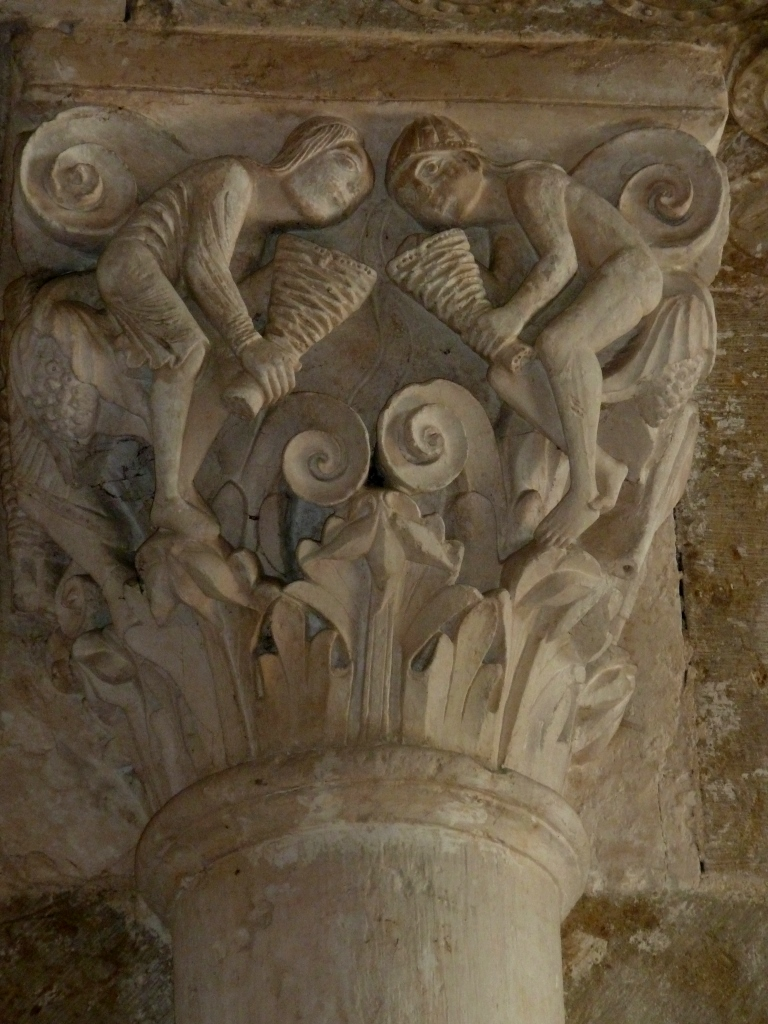 Celebrating Grapes, column capitol, Vezelay, 12th century Ad. photo J. Cook