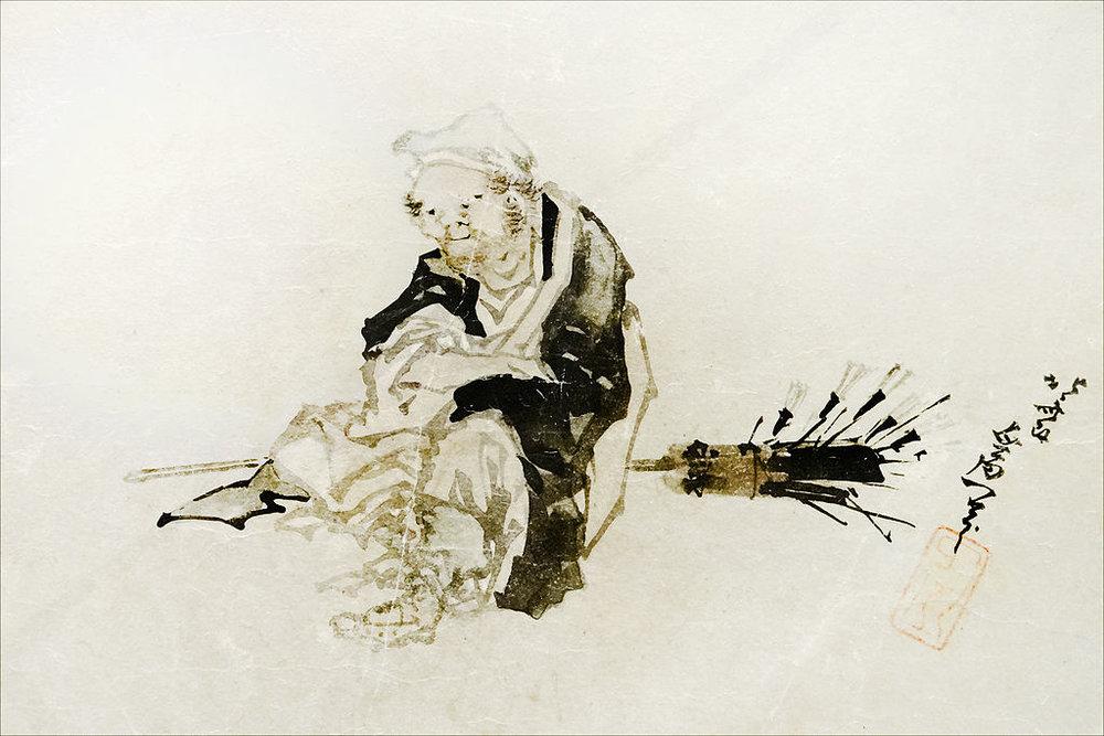 Marchand ambulant de fouets en bambou pour le thé, Chine, sumi et couleurs sur papier micacé, Musee Guimet
