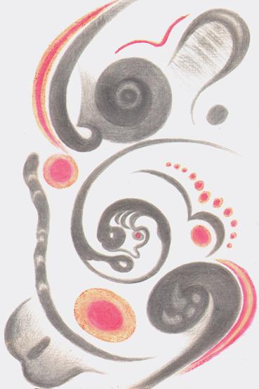 Moroccan Meanderings III, silverpoint-Prismacolor, Jeannine Cook artist