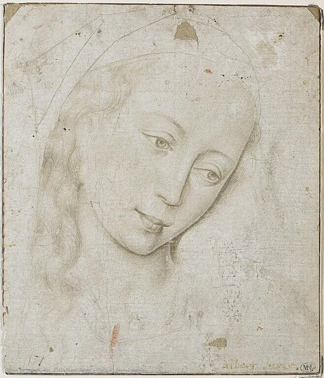 Head of the Virgin, Rogier van der Weyden, silverpoint, image courtesy of the Louvre, Paris