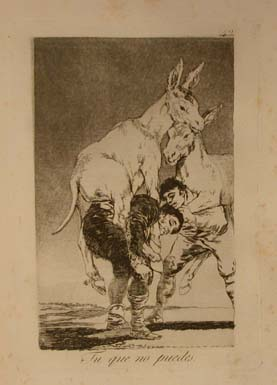 """Francisco Goya, Capricho 42 - """"Tu que no puedes - Thou who cannot """" (those who ride on the backs of the hard-working poor), print, image courtesy of the Museo del Prado"""