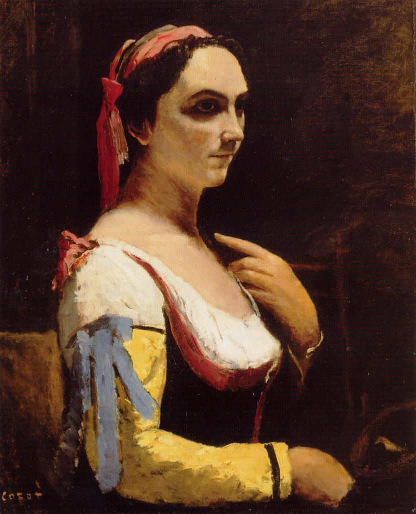 Italian woman with a yellow sleeve, c 1870, Jean-Baptiste-Camille Corot, oil on canvas (Image courtesy of the National Gallery, London)