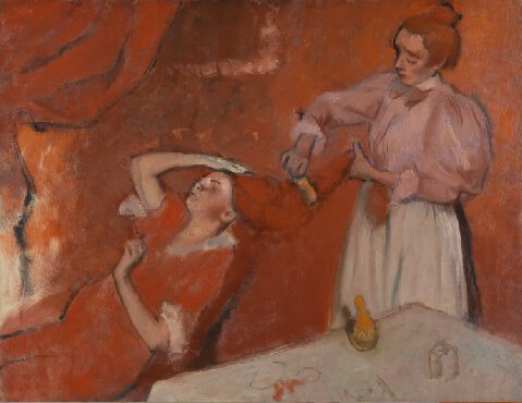 La Coiffure, Hilaire-Germain-Edgar Degas, c. 1896, oil, (Imaage courtesy of the National Gallery, London). This work, owned by Matisse, played into his love of red for his paintings.