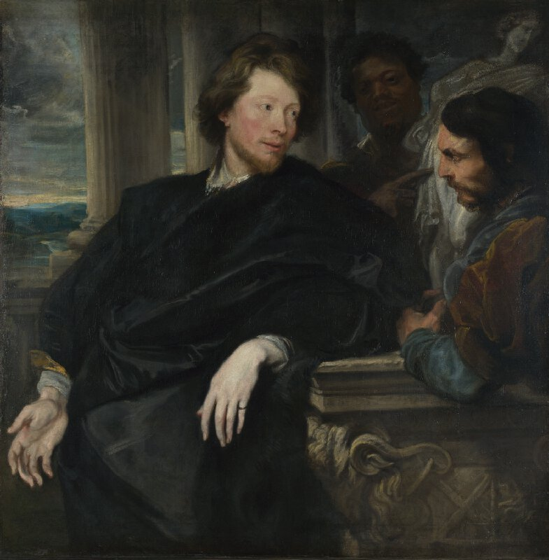 Portrait of George Gale with two attendants, 1622-23, Sir Anthony Van Dyck, oil on canvas, (Image courtesy of the National Gallery, London). This painting appealed to Reynolds, its owner, because of the implied heritage of portraiture with which he wanted to associate himself.