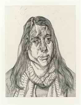 Portrait head, Lucian Freud, etching, 2001, Private collection. This work dialogues with Italian Woman.