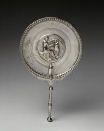 Mirror, Leda and the Swan, Boscoreale, end of 1st century BD-first half 1st century AD, silver (Image courtesy of the Louvre)