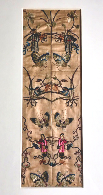 Detail of 19th century embroidered silk panel that I inherited from my great-grandmother. The two parts were originally on the sleeves of a garment, I am told. (photograph J.Cook)