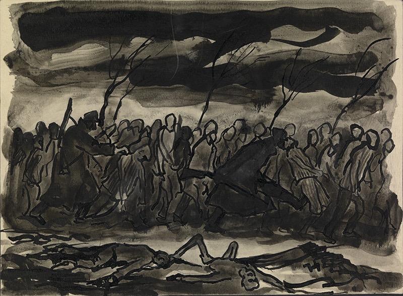 Death March, Czechowice-Bielsko, January 1945, Jan Hartman (Courtesy of the Jan Hartman estate)