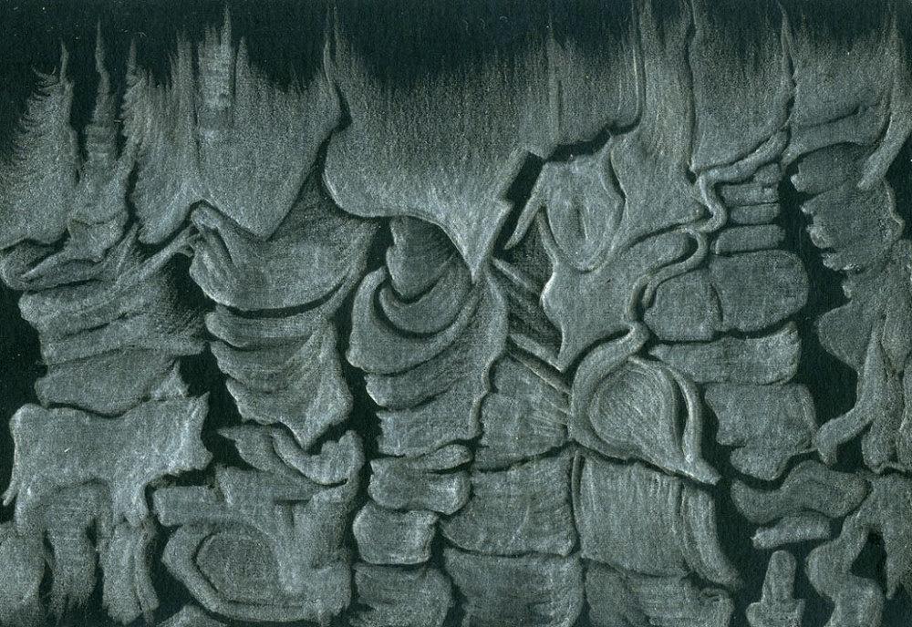 Walnut Freize,  silverpoint, artist Jeannine Cook