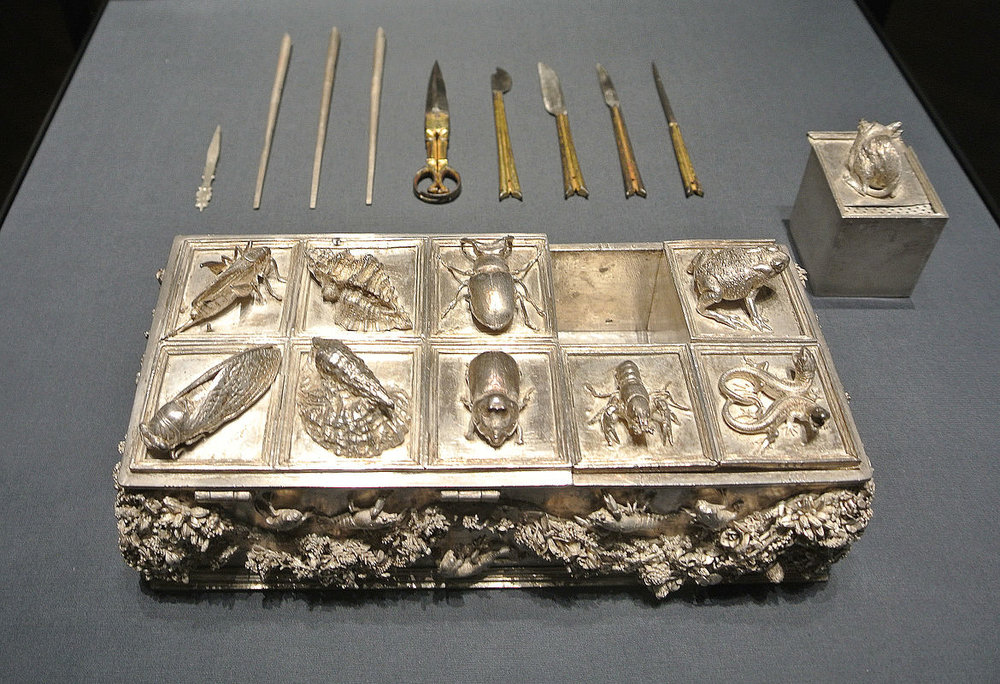 Silver casket with writing utensils made by the Nuremberg goldsmith Wenzel Jamnitzer 1507-08–1585 Silver cicada is at lower left.
