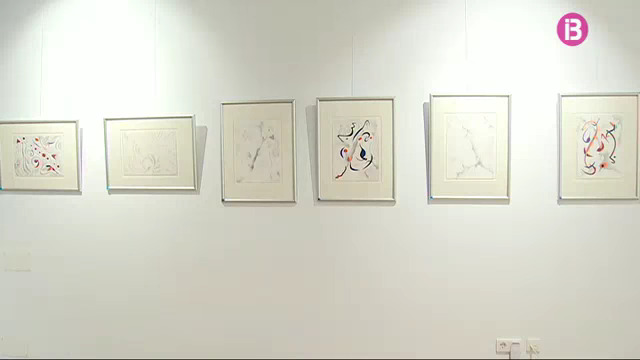 "View of ""Pensando en Miró"" silverpoint exhibition in Sa Tafona Gallery, (Image courtesy of Jaime Anka, IB3 television)"