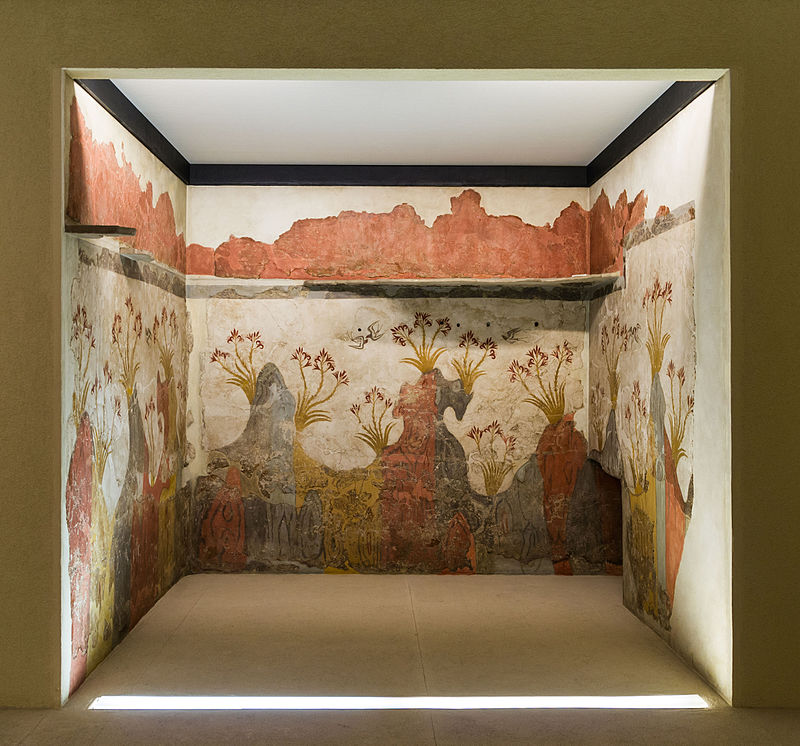 The Spring fresco of Akrotiri, the only wall-painting found in situ in Santorini (a.k.a. Thera), covering three walls of the same room. NAMA,
