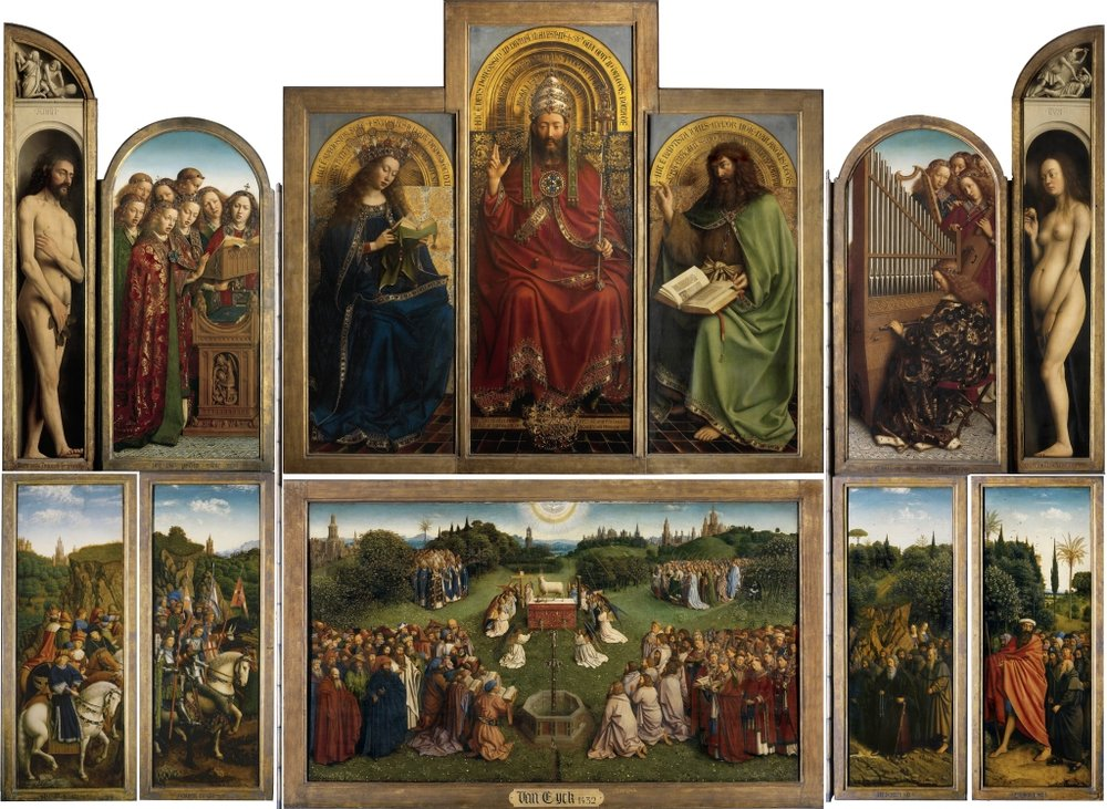 The Ghent Altarpiece, completed in 1432 by Jan van Eyck. This polyptych and the Turin-Milan Hours are generally seen as the first major works of the Early Netherlandish period. Van Eyck included landscape details in the lower portions.