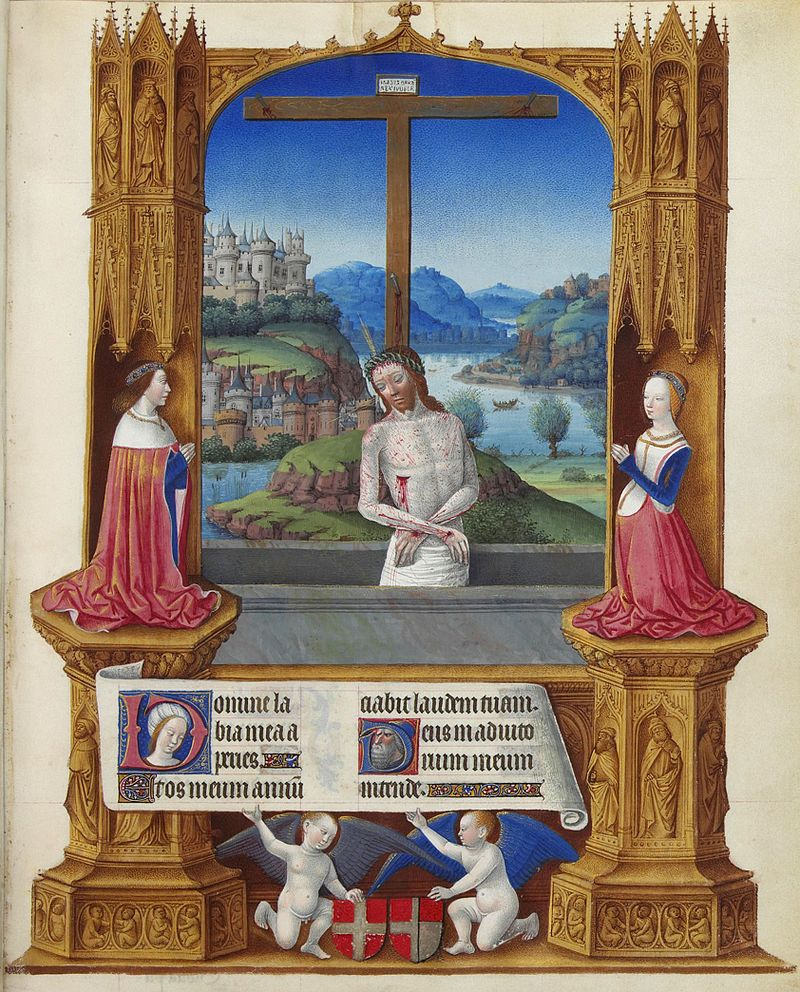 Man of Sorrows, with Duke Charles I of Savoy and his wife, from 1485 to 1489; folio 75r, Jean Colombe
