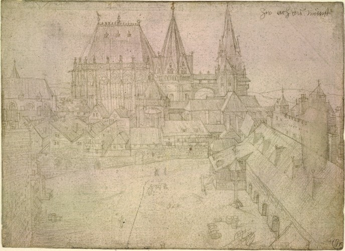 Albrecht Dürer (1471-1528), Aachen Cathedral and the Katschhof, silver point, 1520, British Museum, London