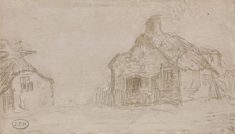 r  Rembrandt, Landscape with two cottages, ca. 1633, silverpoint, Boijmans van Beuningen Museum, Rotterdam